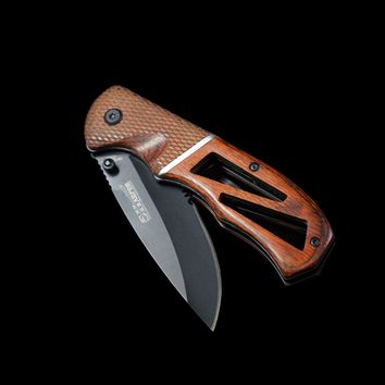 Dark Wood Manual Folding Knife