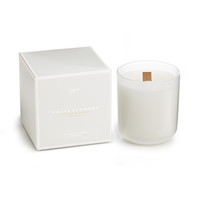 White Flowers Wood Wick Candle