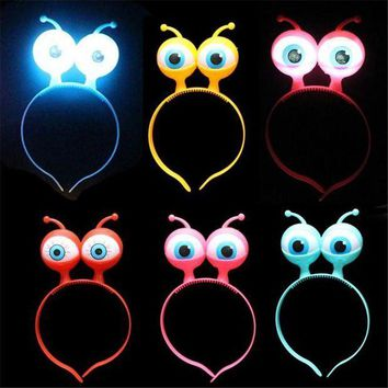ESBON 2017 Costume Leds 10pcs/lot Party Light Up Flashing Blinking Led Headband Women Girl Fun Wedding Halloween Aliens Eyes Decor