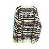 Vintage Tribal ZigZag GeometricTumblr Sweater Size Medium