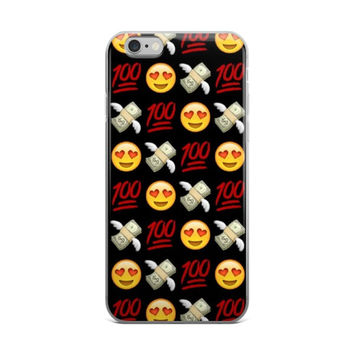Heart Eyes Smiley Face Money With Wings 100 Emoji Collage Red Black & Yellow iPhone 4 4s 5 5s 5C 6 6s 6 Plus 6s Plus 7 & 7 Plus Case