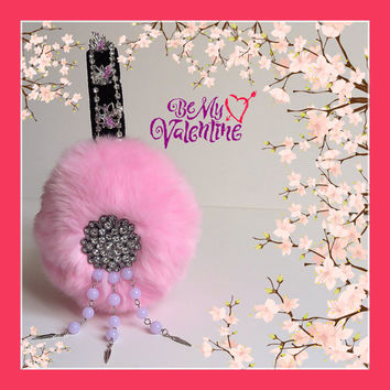 Earmuffs inspired by Scream Queens, pink embellished faux fur earmuffs,ear warmers plush earmuffs fluffy earmuffs, Valentines day gift