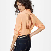 Cute Peach Top - Button-Up Top - Backless Top - $40.00