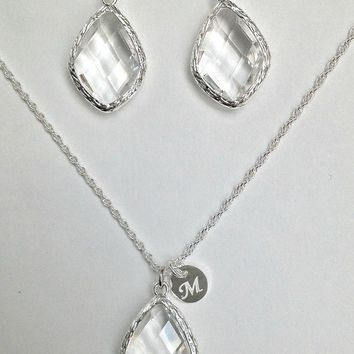 Clear Crystal Necklace Earrings Set, Silver initial Necklace Clear Crystal Earrings Set, Clear Crystal Jewelry Sets for Bridesmaids, TS1