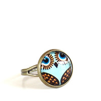 Owl Adjustable Ring Yoga Jewelry Good Luck Wisdom Inspirational Earthy Spiritual Unique Mothers Day Gift Under 20 Item E9
