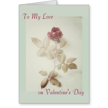 Vintage Rose Art Photo Valentine's Day Greeting Card