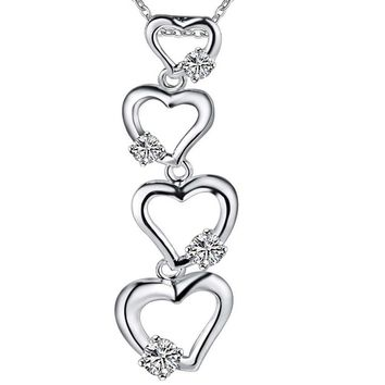 Silver Plated Three Hearts Stone Pendant Necklace