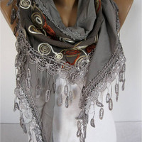 ON SALE - Elegant  Scarf - Cowl with Lace Edge -Fashion Scarf-Scarf, shawl