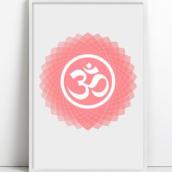Yoga art Om Poster OM Print Namaste Watercolor Minimalist Coral pink Vintage Yoga Watercolor Art Relax Yoga art wall decor Typographic Print