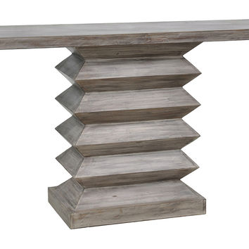 Console Zorin  Table, Whitewashed Gray, Console Table