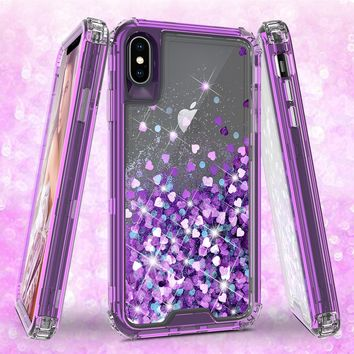 Apple iPhone XS Max Case,Hard Clear Glitter Sparkle Flowing Liquid Heavy Duty Shockproof Three Layer Protective Bling Girls Women Cases for Apple iPhone XS Max - Purple