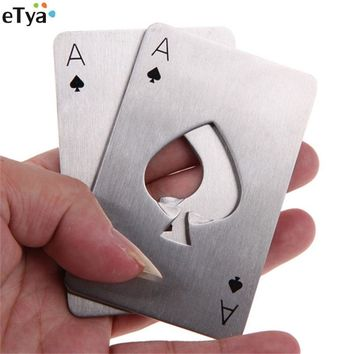 1PC eTya Creative Poker Card Beer Bottle Opener Personalized Funny Stainless Steel Credit Card Bottle Opener of Spades Bar Tool