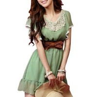 Allegra K Women Butterfly Sleeve Crochet Elastic Waist Short Chiffon Dress