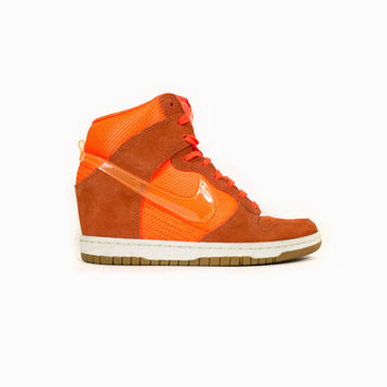 NIKE Dunk Sky Hi Wedge Heel Mesh Total Crimson/Bright Mango - 579763-800 - neon orange - womens shoes size 7