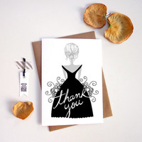 Thank you Bridesmaid Card. Modern and Stylish Thank you. Bridal party. TK321