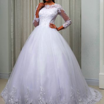 Long Sleeves Sequined Lace Embroidery Wedding Dress Ball Gown Illusion Sheer Neck Bridal Gown