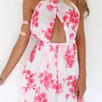 White Floral Crisscross Front Backless Pleated Mini Dress