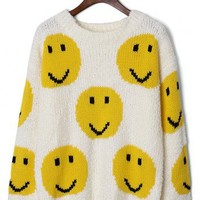 Smile Face Knit Sweater in White - New Arrivals - Retro, Indie and Unique Fashion
