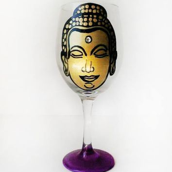 Gold Buddha Wine Glass