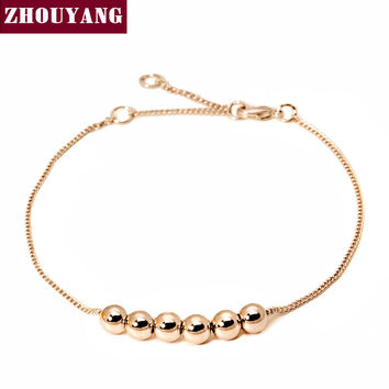 String Together The Happiness  Rose/WhiteGold Plated Link Chain Charm Bracelet Jewelry Top Quality