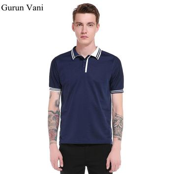 2018 Summer Mens Casual Striped Polos Cotton Short -Sleeve Slim Polo Shirts Turn-Down Collar England Style Breathable Men Polos