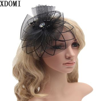 Retail Wedding Holiday Fascinator Cocktail Hat For Women French Veiling Hair Headband Vintage Fashion Lady Party Accessory