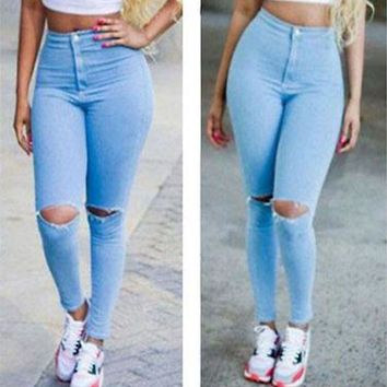 LMFUS4 Hot Sexy Women Denim Jeans Girls Distressed Jeggings Ladies Stretch Pencil Pants