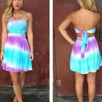 Mint & Purple Tie Dye Strapless Dress with Tie Back