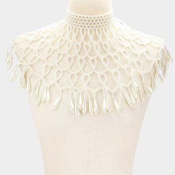 "21"" long cream faux pearl choker necklace body chain armor vest"