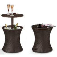 Keter Rattan Outdoor Patio Deck Pool Cool Bar Ice Cooler Table Furniture, Brown
