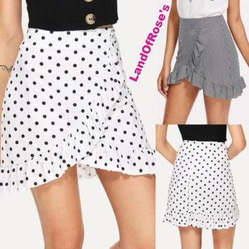Women Wrap Ruffle A Line High Waist Casual Polka Dot Short Mini Skirt