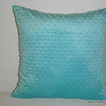 Decorative-Accent-Throw Pillow Cover- 20 inch Minky Dot in Aqua-Free Domestic Shipping