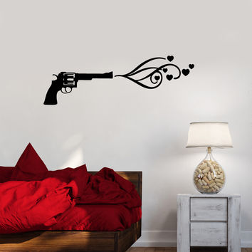 Vinyl Decal Love Romance Heart Gun Shot Wall Sticker Bedroom Decor (ig2662)