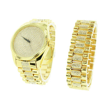 Gold Finish Watch Bracelet Set Classy Part Wear Mens New