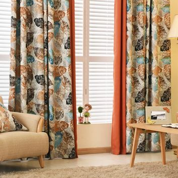 Pastoral blackout window curtains bedroom luxury design rustic leaves modern window shades living room ready made curtains
