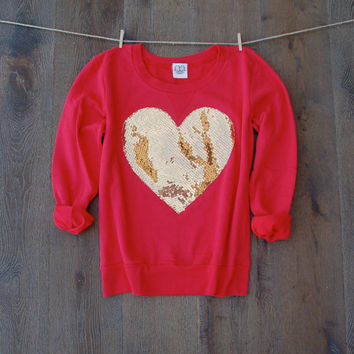 The Dazzle My Love Sweatshirt -  Sequin Heart Sweatshirt Jumper Heart Shirt