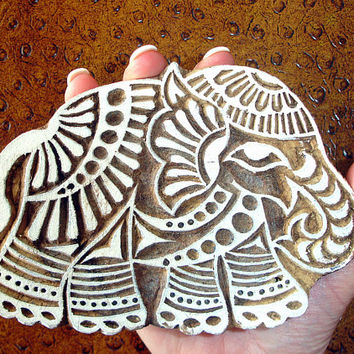 Indian Elephant Stamp: Hand Carved Wood Printing Block from India, Textile Pottery or Ceramic Stamp, Feng Shui Symbol