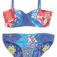 Maaji 'Floral Landscape' Two-Piece Reversible Swimsuit (Big Girls) | Nordstrom