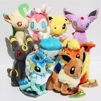 9pcs/set Kawaii Eevee Plush Toys Dolls Soft Stuffed Animals Anime Figure Kids toys for children Birthday Gift