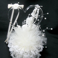 Wedding Cake Topper Treasure Masters Pulled Glass Heart Vintage