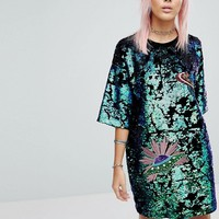 RAGYARD T-Shirt Dress In Sequin at asos.com