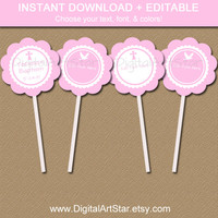 Pink Baptism Cupcake Toppers - Printable Baptism Party Decor - EDITABLE Christening Tags - First Communion Labels - Catholic Tags - INSTANT