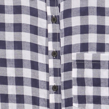 One Pocket Navy Plaid Button Up *Size XL-3XL*