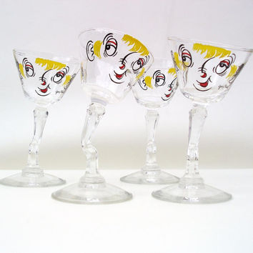 Vintage Martini Glasses Gay Fad Tipsy Faces Barware Cocktail Glasses Hand Painted Set of 4