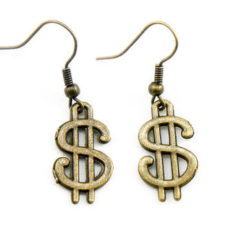 Money Dollar Sign - Vintage Style Antiqued Brass Dangle Earrings - CP031