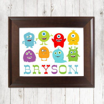 MONSTER Wall Art Nursery Boy Artwork Colorful Aliens Child Name Custom Personalized Birthday Party Single Print Decor Baby Shower Gift