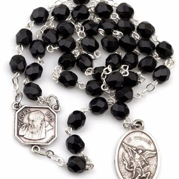 Jet Black St Saint Michael Padre Pio Guardian Angel Rosary Beads Chaplet 6MM 754207935923