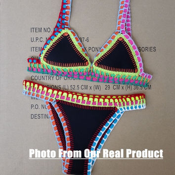 High Qualit Handmade Crochet women sexy neoprene swimwear bikini brand  bathing suit black colorful = 1946120196