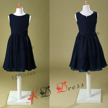 On Sale Navy Blue Chiffon Flower Girl Dress Junior Bridemaid Dress Children Birthday Party Dress Kids Dress with Flower
