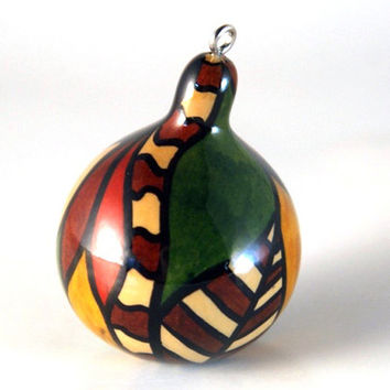 Christmas Gourd Ornament or Fall Ornament Gourdament - unique Christmas ornament made from natural dried spinner gourd - red brown green